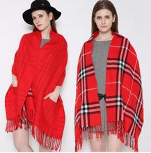 Load image into Gallery viewer, Cashmere Plaid Scarf With Pocket - El Sanar