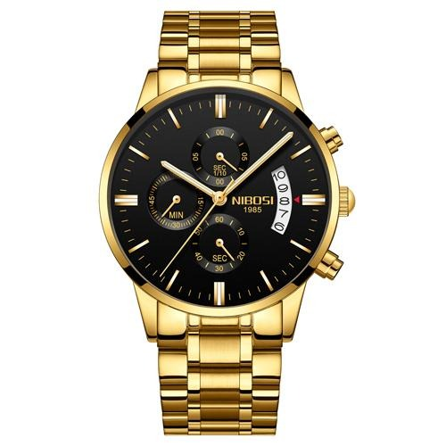 Men's Chronograph Watch In Gold Tone Stainless Steel - El Sanar
