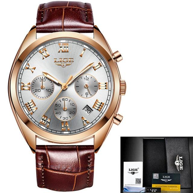 Men's Chronograph Watch In Rose Tone Stainless Steel & Brown Leather - El Sanar