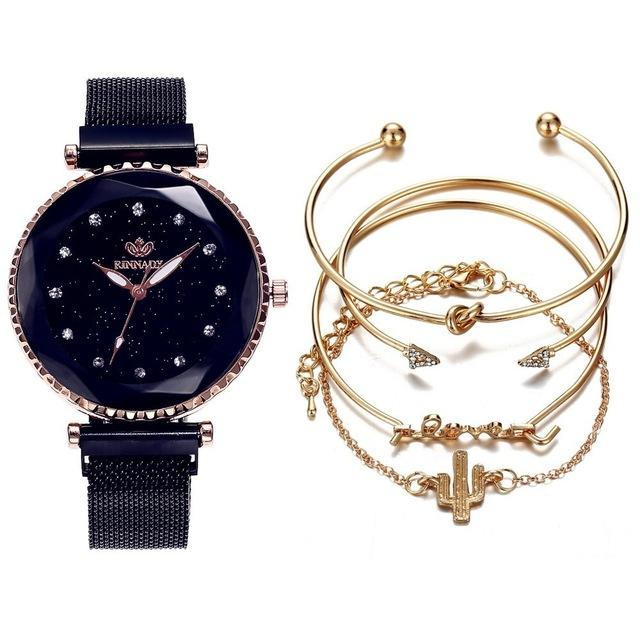 Luxury Female watch & Bracelet 5pc/set - El Sanar