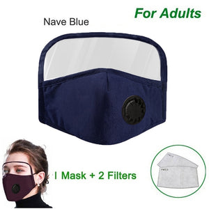 Protective Breathing Face Mask With Eyes Shield (mask +2 filters Set)