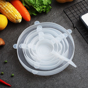 6 Piece Set Reusable Silicone Lids - The Eko Company