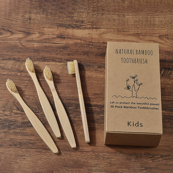 Set of 10 Bamboo Childrens Toothbrushes - The Eko Company