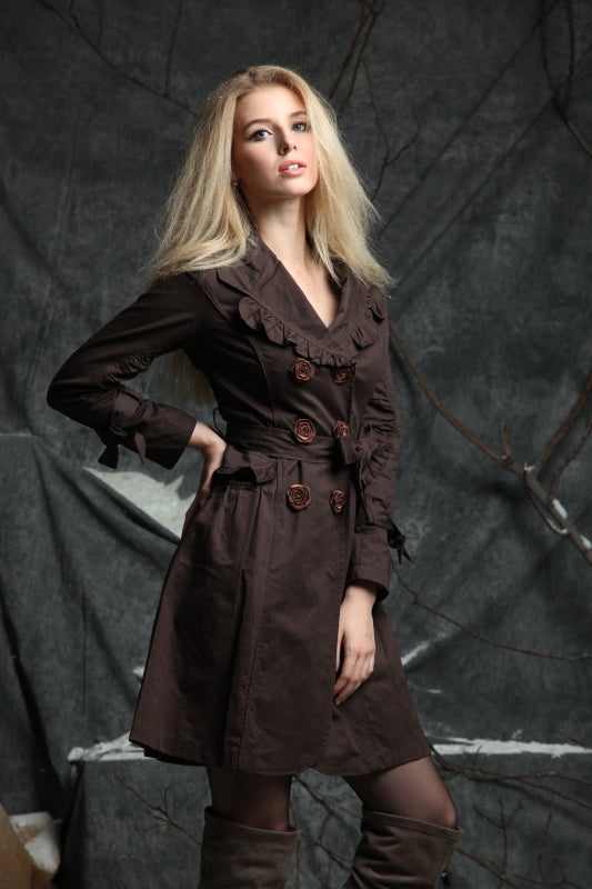 Custom Design Trench Coat with Satin Details