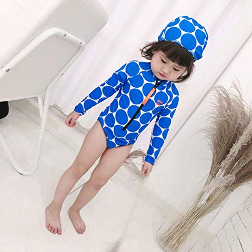 Mother and Daughter Matching Swimwear Girls Polka dot Long Sleeve one-Piece Swimsuit