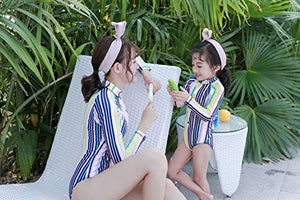 Mother and Daughter Matching Swimwear Girls Pink Stripe Long Sleeve one-Piece Swimsuit