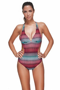 Stylish Print Plus Size Low Cut One Piece Swimsuit Backless