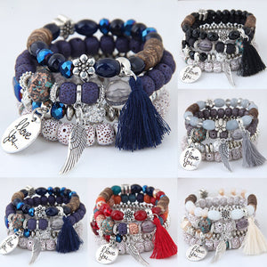 Crystal Lava Stone Beads Wing Tassel Fashion Multilayer (4pcs/set)
