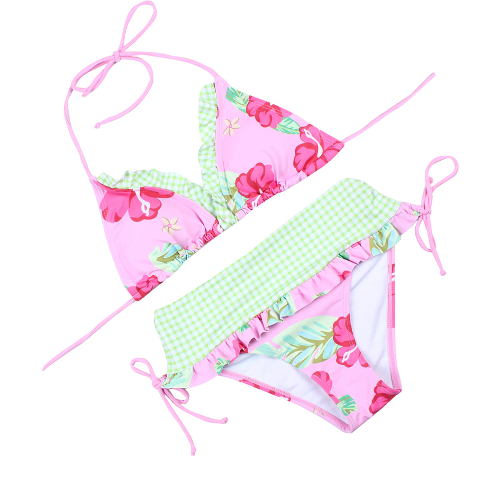 Refreshing Halter Triangle Floral Print Bikini Set Low Rise