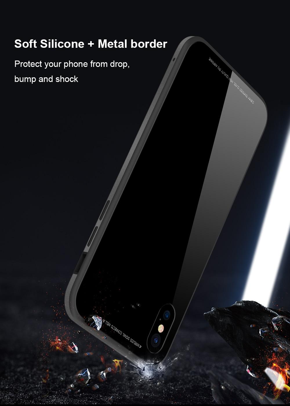 SULADA Tempered Glass + Metal Frame + TPU Hybrid Protection Case for iPhone