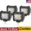 4x 4inch 60W Triple Row Light Bars Spot Flood Combo Beam Diving Lights Waterproof LED Cubes Offroad Lights for Truck Jeep 4X4 ATV Motorcycle Marine - YITAMotor
