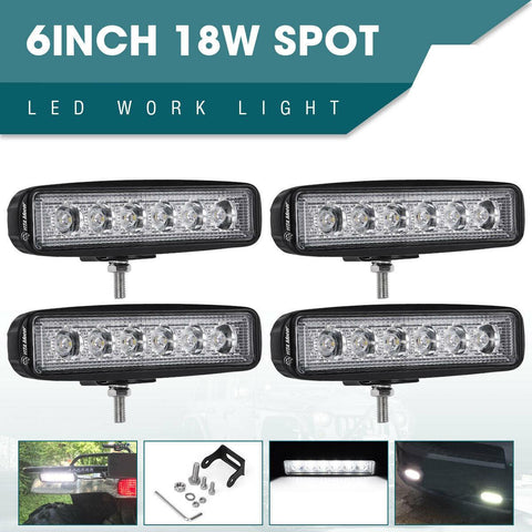 4pcs 6Inch 72W LED Work Light Bar Spot Offroad ATV Fog Truck Lamp 4WD 12V 6'' - YITAMotor