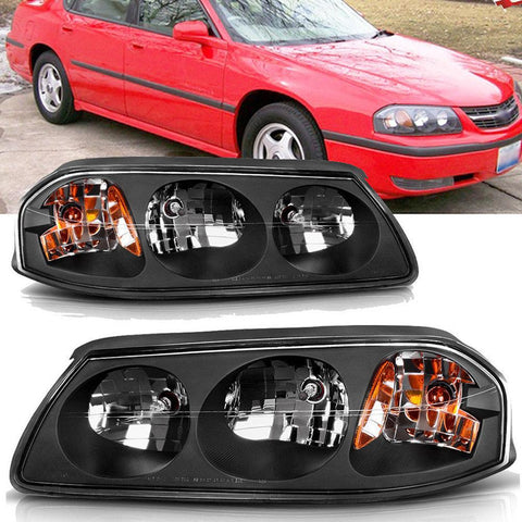 Black Housing Headlights Assembly For 00-05 Chevy Impala