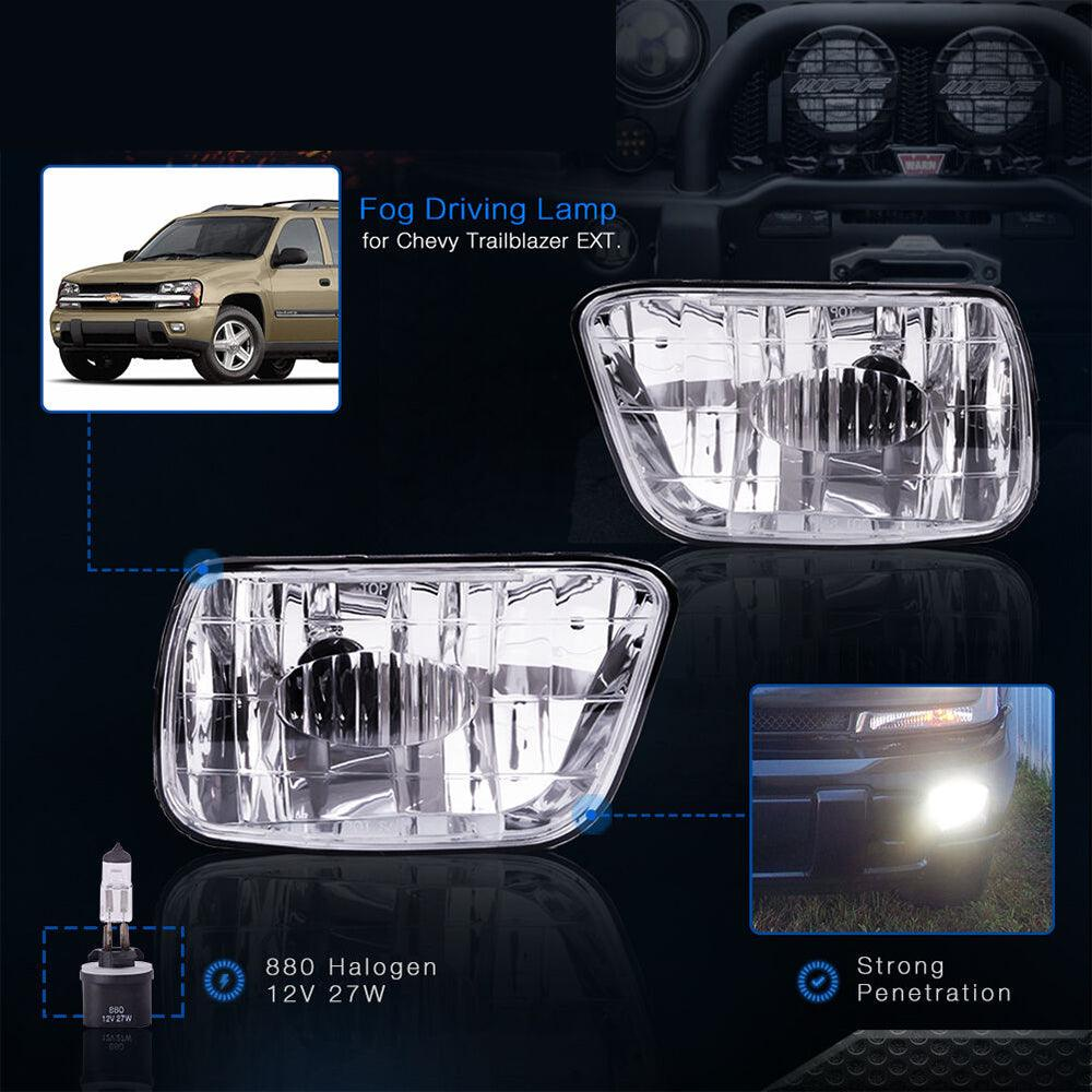 Fog Lights For Chevy Trailblazer 02-09 (Do NOT Fit in 07-09 Trailblazer SS Models) Isuzu Ascender 03-08 (OE Style Clear Lens w/ 880 12V 27W Bulbs) - YITAMotor