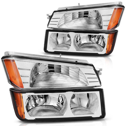 Headlight Assembly for 2002-2006 Chevy Avalanche with BODY CLADDING Chrome Headlights+Bumper Signal Lamp - YITAMotor