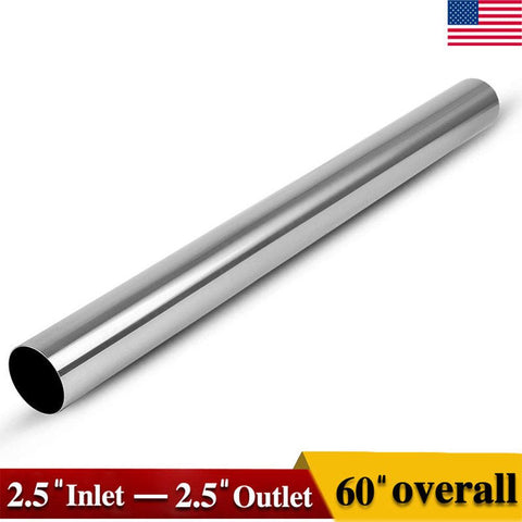 "OD 2.5"" Inlet - 2.5"" Outlet 5' Feet Stainless Steel Exhaust Pipe Tubing Straight - YITAMotor"