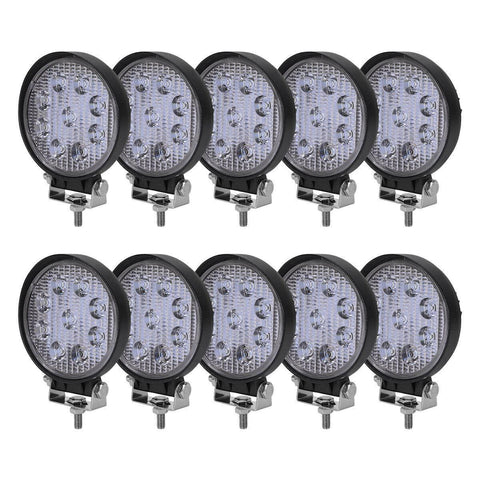10x LED Light Bar 27W 4'' LED Light Pods Flood Round Work Light Offroad Light Led Fog Light Truck Light for Truck Pickup Jeep SUV ATV UTV - YITAMotor