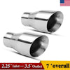 2pcs Weld On 2.25'' Inlet 3.5'' Outlet 7'' Long Diesel Exhaust Tips Stainless Steel - YITAMotor