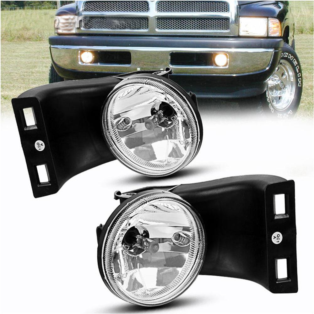 Fog Lights 12V 37.5W Halogen Lamp For 1994-2002 Dodge Ram 1500 2500 3500 Pick Up Truck (Clear Lens w/Bulbs)(Only fit Without Sport Package model) - YITAMotor