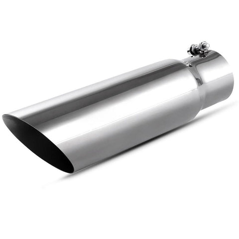 "2.75"" Inlet 3.5"" Outlet 12inch Long Bolt On Exhaust Tip Universal SS Chrome - YITAMotor"