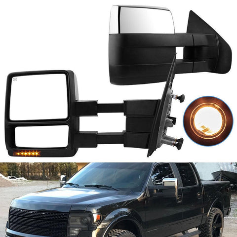 07-14 Ford F150 Puddle Turn Signal Chrome Cap Power Heated Towing Side Mirrors - YITAMotor