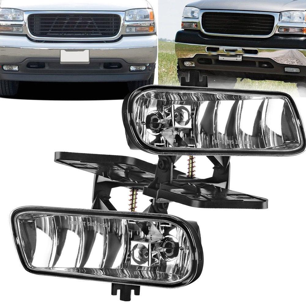 Fog Lights 899 12V 37.5W Halogen Lamp Fit for 1999-2002 GMC Sierra / 2000-2006 GMC Yukon Pickup Truck (Clear Lens) - YITAMotor