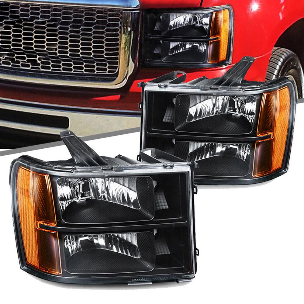 Headlight Assembly for 07-13 GMC Sierra 1500/07-14 Sierra 2500HD 3500HD Headlamps Replacement Black Housing Amber Reflector(Passenger and Driver Side) - YITAMotor