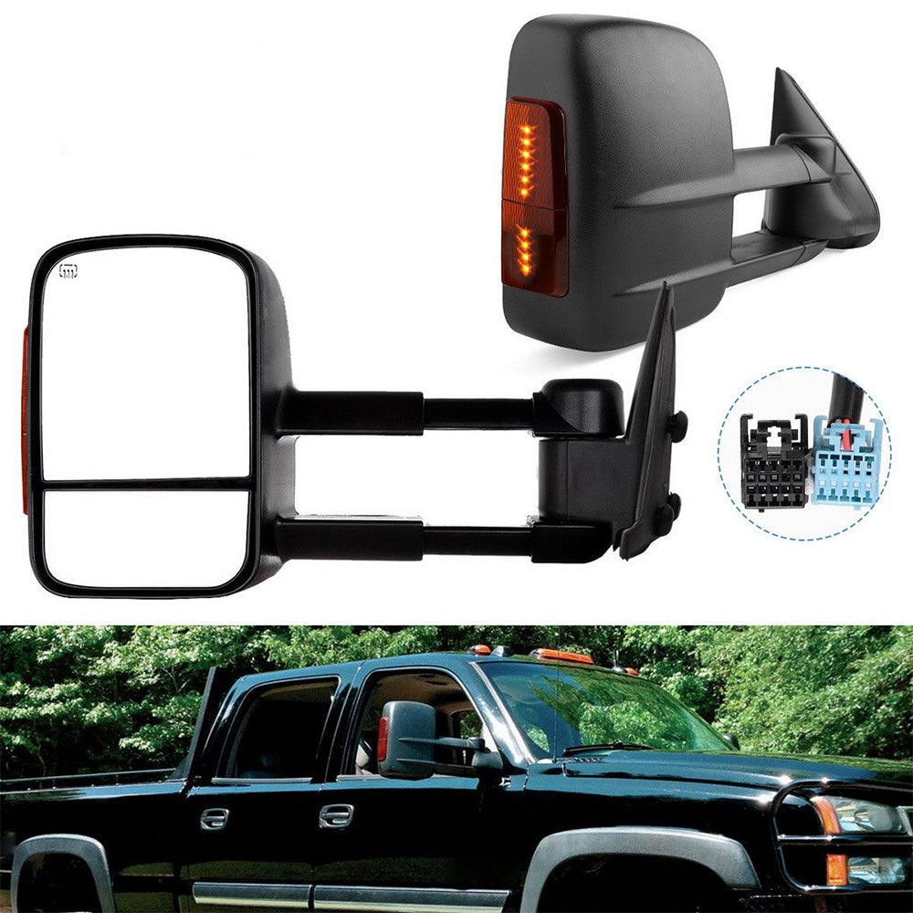 YITAMOTOR Tow Mirrors Power Heated LED Turn Signals for 2003-2006 Chevy Silverado GMC Sierra - YITAMotor