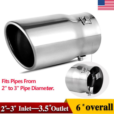 "2-2.5 Inch Inlet Adjustable Exhaust Tip, Bolt On Chrome Polished Stainless Steel Exhaust Tailpipe Tip, 2""-2.5"" Inlet, 3.5"" Outlet, 6"" Long. - YITAMotor"