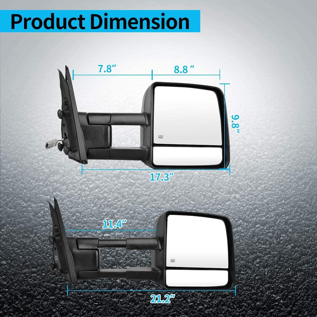 AUTOSAVER88 Tow Mirrors Compatible with 07-17 Toyota Tundra Black Manual Extending and Folding Truck Towing Mirrors w// Turn Signal Power Control Heated Rear View Mirrors