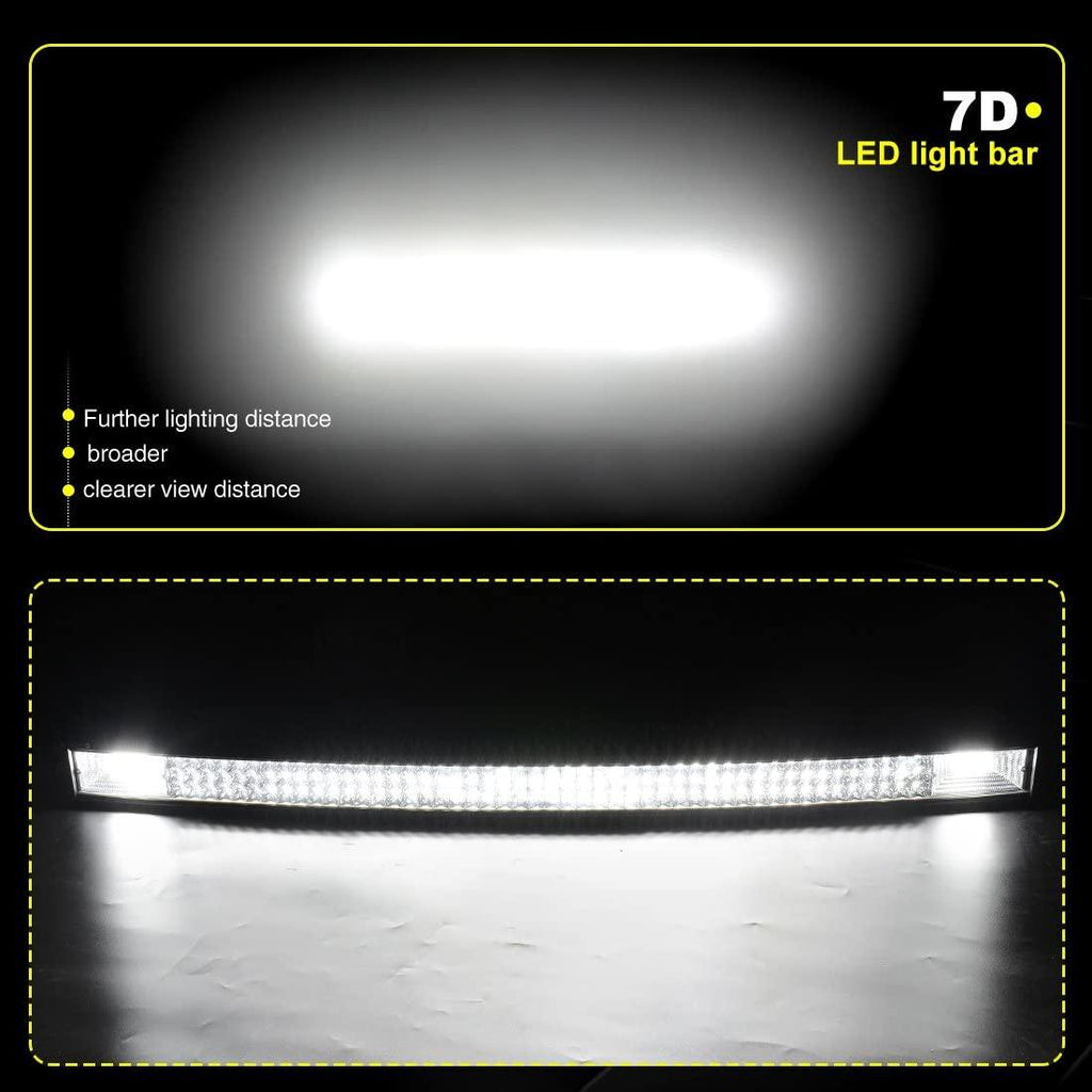 "50"" Curved LED Light Bar Triple Row Off Road Driving Light for Jeep Trucks Boats ATV Cars"