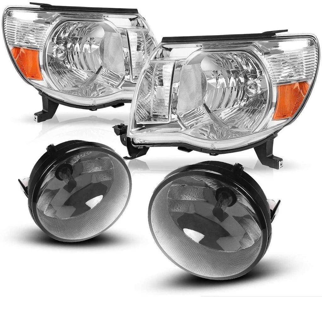 For 2005-2011 Toyota Tacoma Headlight Assembly Headlamps Replacement Chrome Housing and Amber Reflector + Fog Lights w/Wiring Harness & Switch - YITAMotor
