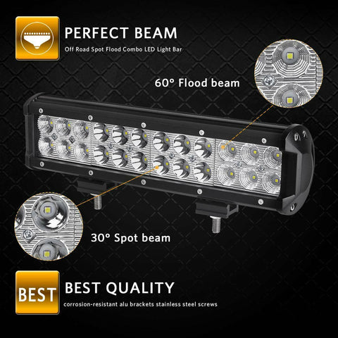 Led Light Bar 72W 12'' LED Light Pod Spot Flood Combo Work Light Offroad Light Driving Light Fog Light Boat Light for Truck Pickup SUV ATV UTV - YITAMotor