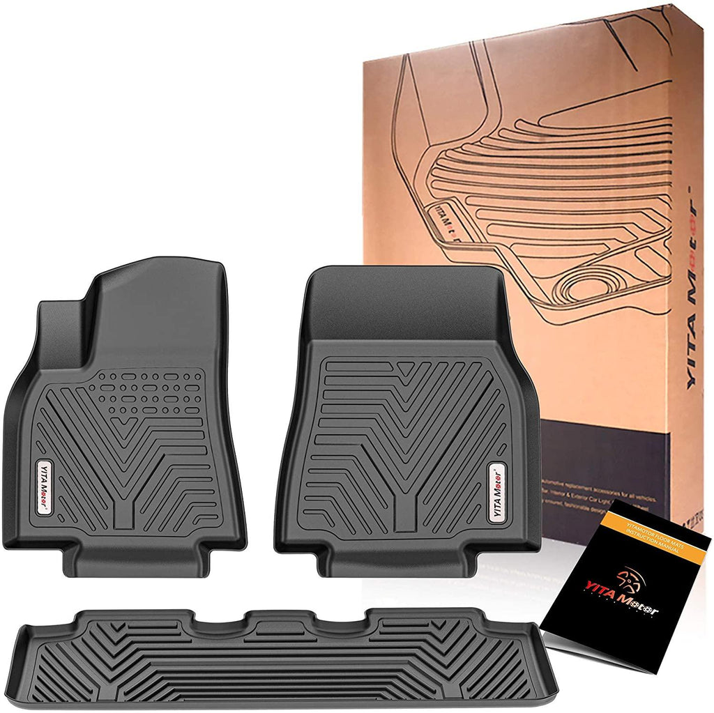 YITAMOTOR Floor Mats For 2020-2021 Tesla Model Y, Custom Fit Black TPE Floor Liners 1st & 2nd Row All-Weather Protection