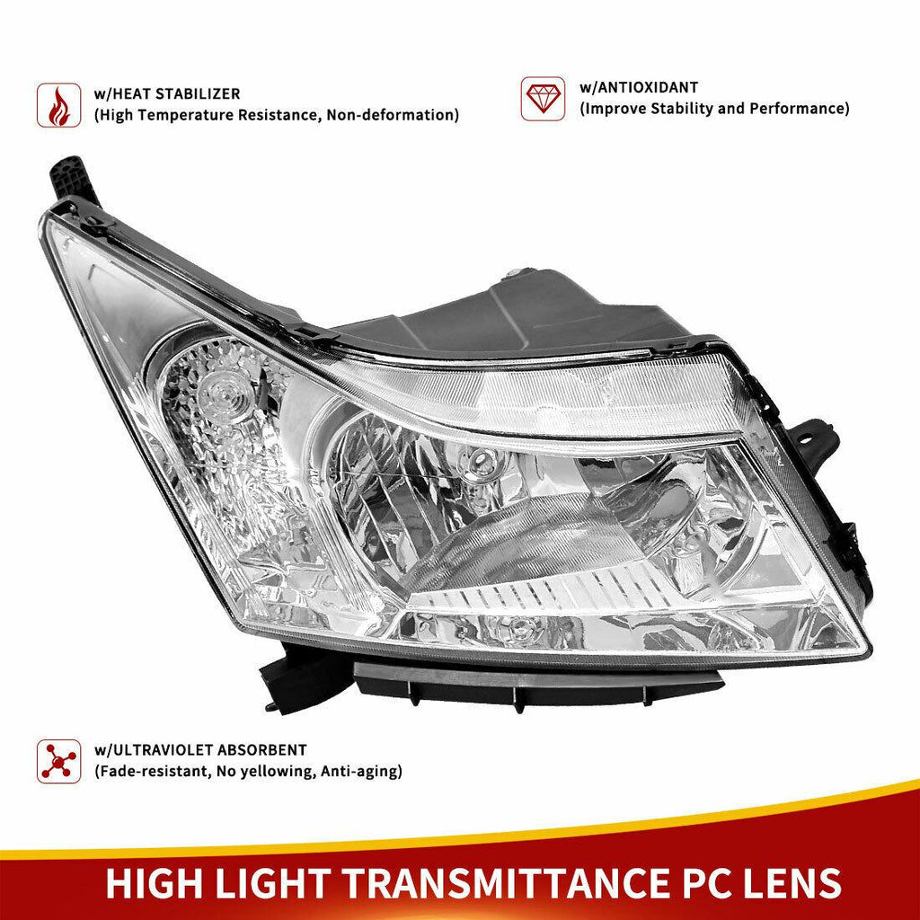 2011-2015 Chevy Cruze Chrome Headlights Lamps Left+Right Pair