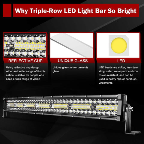 "LED Light Bar 29""(32"" with Mounting Bracket)Curved 390W Triple Row 35000LM Upgrade Chipset Work Light for Off Road Driving Fog Lamp IP68 WATERPROOF - YITAMotor"