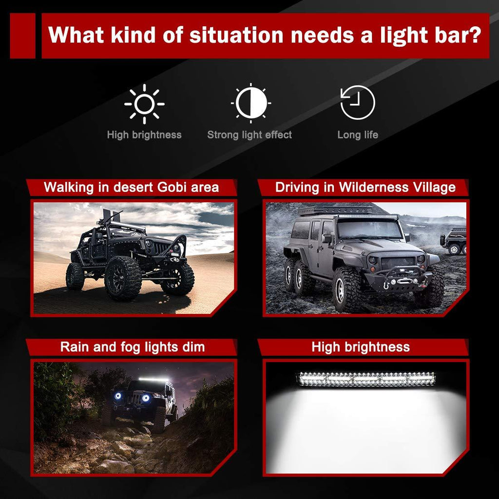 LED Light Bar 29''(32'' with Mounting Bracket)Curved 390W Triple Row 35000LM Upgrade Chipset Work Light for Off Road Driving Fog Lamp IP68 WATERPROOF - YITAMotor