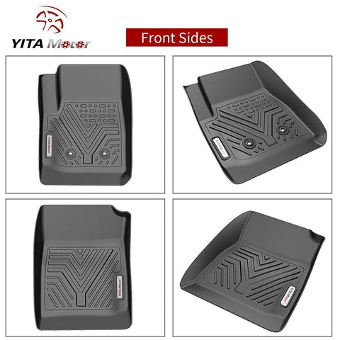 YITAMOTOR Floor Mats for 2015-2020 Chevy Colorado Crew Cab/GMC Canyon Crew Cab, 1st & 2nd Row All Weather Protection, Black Custom Fit Floor Liners - YITAMotor