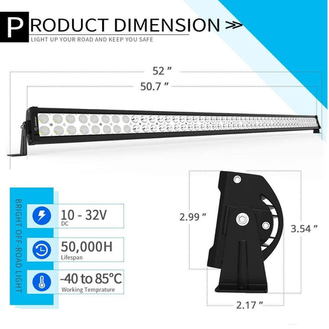 "YITAMOTOR 52 inches LED Light Bar for 07-15 JEEP JK+ 2X 18W 4"" Spot Fog Light Pods+ Mounting Bracket with Wiring Harness"