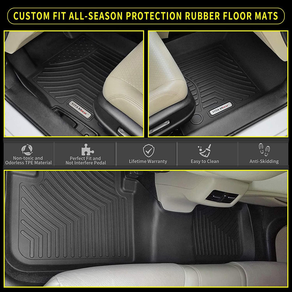 YITAMOTOR Floor Mats for 2020-2021 Ford Explorer 6 Passenger Models,Custom Fit Black TPE Floor Liners,1st,2nd and 3rd Row All-Weather Protection