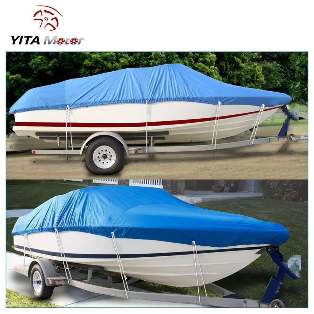 20-22Ft Boat Cover Fits V-Hull, Non-Abrasive Lining Heavy Duty Breathable Oxford Fabric Boat Cover, Waterproof Dustproof All Weather protecter