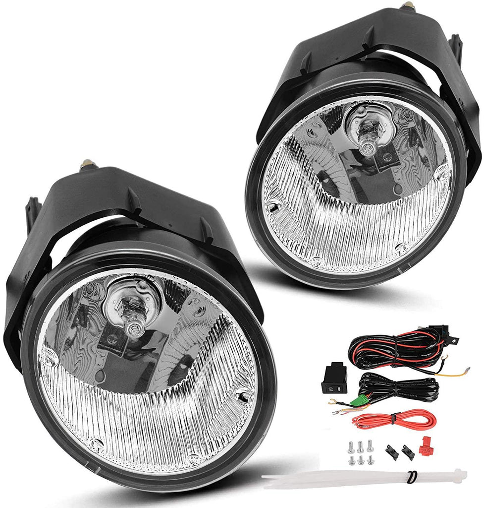 Fog Lights Compatible with Nissan Sentra 2000-2003 Frontier 2001-2004 Xterra 2002-2004 Maxima 2000-2001 (Clear Lens w/Bulbs & Wiring Harness)