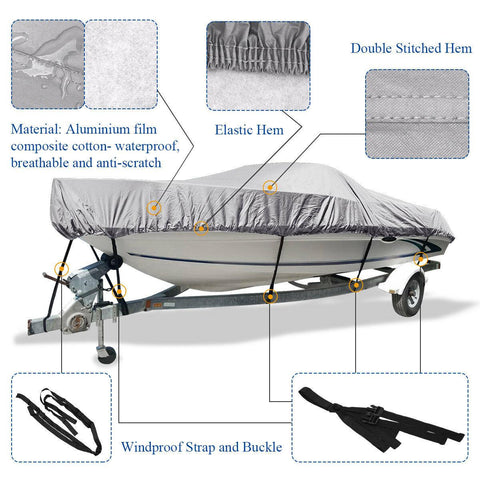 17-19 Ft Trailerable Waterproof V-Hull Non-Abrasive  Washable Breathable Boat Cover Beam 95'' - YITAMotor