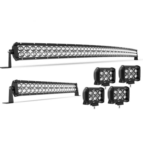 "50"" 288W Curved LED Light Bar +22'' +4'' Pods Offroad Fits Jeep Truck SUV 4X4"
