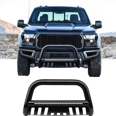 "Bull Bar for 2004-2020 Ford F-150 3"" Tubing Front Grille Brush Push Bumper Guard with Led Lights, Include Skid Plate Light Mount (Black)"