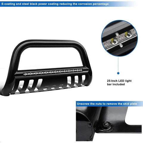 "Bull Bar Compatible for 2004-2020 Ford F-150 3"" Tubing Front Grille Brush Push Bumper Guard with Led Lights, Include Skid Plate Light Mount (Black)"