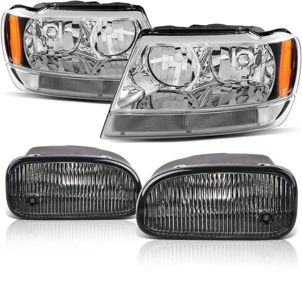 Headlight Assembly and Fog Light Combo For 1999-2003 Jeep Grand Cherokee, Chrome Housing Headlights Replacement, Clear Lens Fog Lamps w/Bulbs - YITAMotor