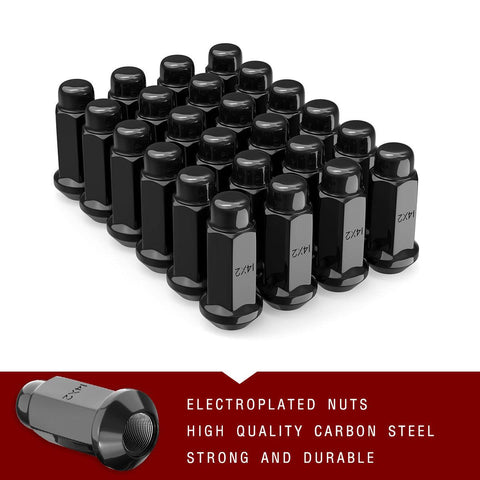 "24 Acorn Black Trucks Lug Nuts 14X2.0 for FORD NAVIGATOR F150 EXPEDITION 1.88"" - YITAMotor"