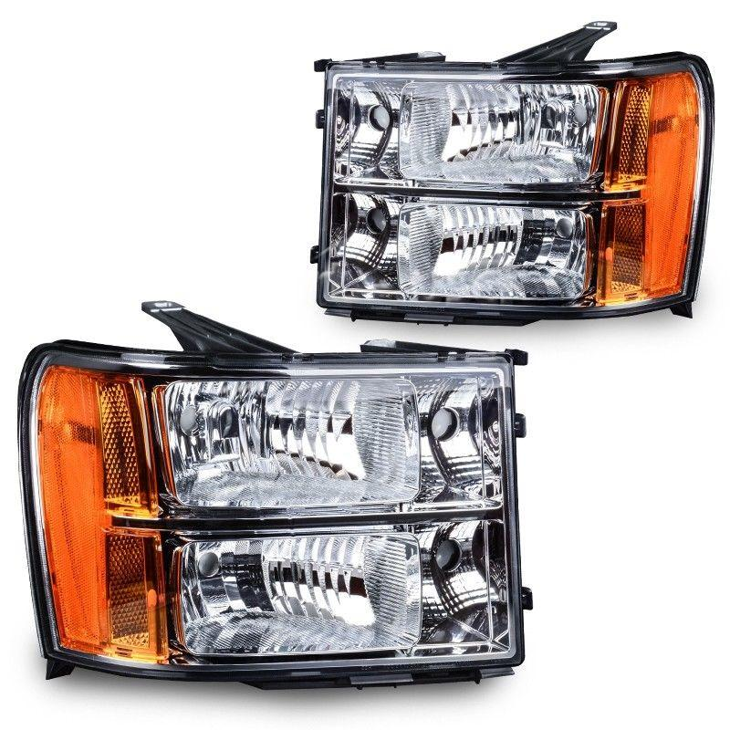 Headlight Assembly For 07-13 GMC Sierra 1500/07-14 GMC Sierra 2500HD 3500HD  Clear Lens Chrome Housing with Amber Reflector - YITAMotor