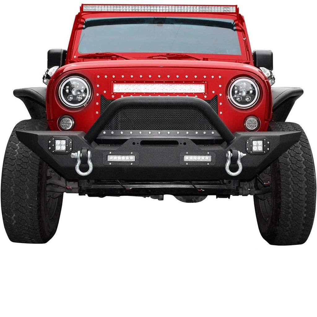 Front Bumper Compatible for 07-18 Jeep Wrangler JK & Unlimited Rock Crawler Bumper with 4X LED Lights w/Winch Plate and D-rings - YITAMotor